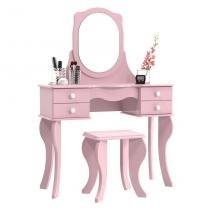 Penteadeira Princesa com Espelho Rosa - Patrimar