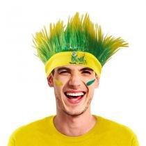 Peruca Mesclada Arrepiada com Faixa Verde e Amarela Brasil CP126 - Festabox
