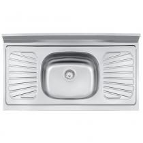 Pia de cozinha em aço inox 105 x 52 cm com válvula - Standard - Tramontina - Tramontina