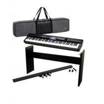 Piano digital casio px-360mbk privia 88 teclas / estante casio cs67 / pedal de sustain casio sp-33c2 / capa casio privia sc 700p - Casio