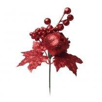 Pick Decoração Natal Frutas C/ Glitter 23Cm Vermelha - Cromus