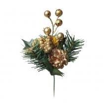 Pick Decoração Natal Frutas Ouro Glitter 23Cm Dourado - Cromus