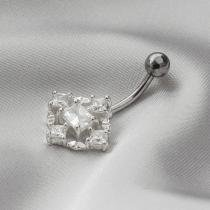 Piercing de Aço Steel e Prata com Zircônia Cristal Losango - Prata fina