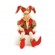 Pierrot Sentado Musical Dançante Decoração Natal 43Cm Vermelha - Cromus
