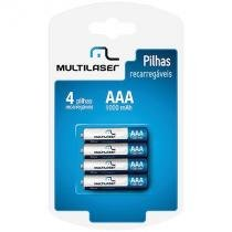 Pilha recarregavel aaa 1000mah c/4 multilaser cb050 - Multilaser