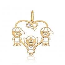 Pingente em Ouro 18k Uma Menina e Dois Meninos Coração com Zircônia - Ouro  Amarelo - ac168cf694