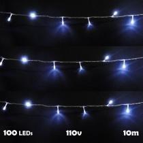 Pisca pisca 100 leds 10m branco 110v 4 fases fio transparente 1039 - Wmt