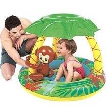 Piscina infantil inflavel com cobertura para crianca e bebe macaquinho 65 litros - Gimp
