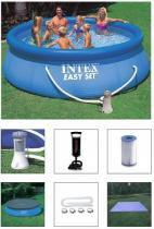 Piscina intex 6734 litros com bomba filtro 110v e capa e forro e bomba de inflar - Intex