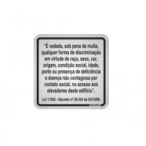 Placa Aviso Elevador Discriminação 15x15cm Alumínio 120AO Sinalize - Sinalize