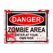 Placa - Danger Zombie Area - BLOOD EDITION - 20 x 15 cm - Yaay