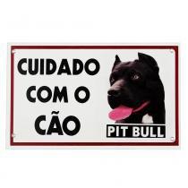 Placa de advertência pit bull black - Maschi-dog
