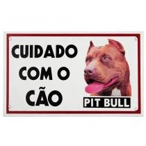 Placa de advertência pit bull red - Maschi-dog
