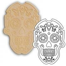 Placa de madeira recortada a laser pinta fácil brasil caveira mexicana modelo 5 30 x 42 cm - ca053042 - Mad. pinta facil br