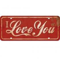 Placa de MDF e Papel Decor Home Litoarte 14,6 x 35 cm - Modelo DHPM2- 001 I Love You -