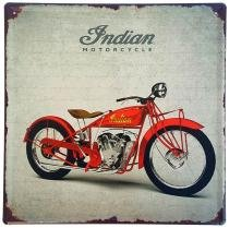 Placa de Metal Decorativa Indian Motorcycle - 30 x 30 cm - Yaay