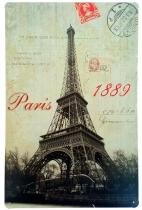 Placa de Metal Decorativa Paris 1889 - 30 x 20 cm - Yaay