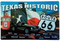 Placa de Metal Decorativa Texas Historic - 30 x 20 cm - Yaay