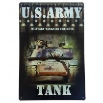 Placa de Metal Decorativa US Army Tank - 30 x 20 cm - YAAY