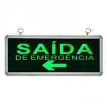 Placa de Sinalização para Saída de Emergência À Esquerda de LED UN-07 110V - UNIK Iluminação