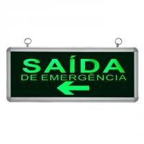 Placa de Sinalização para Saída de Emergência À Esquerda de LED UN-07 220V - UNIK Iluminação