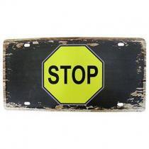 Placa Decorativa de Metal Alto-Relevo Vintage Retro Stop (93172) - Yan