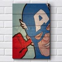 Placa Decorativa em MDF com 20x30cm - Modelo P440 - Capitão América - Humor - R+ Adesivos