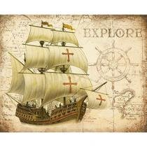 Placa Decorativa Navio Explore 24x19cm DHPM-161 - Litoarte - Litoarte