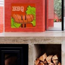Placa decorativa quadrado em acrílico  churrasco - 0,20 x 0,20 - bbq - Duhelu