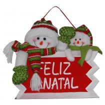 Placa feliz natal boneco de neve com 28cm de largura cbrn0296 cd0043 - Commerce brasil
