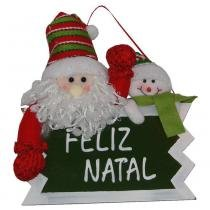 Placa Feliz Natal Papai Noel com 28cm de Largura CBRN0302 CD0043 - Commerce brasil