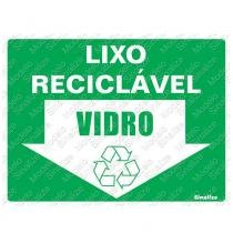 Placa Lixo Reciclável Vidro 15x20cm Poliestireno 220BP Sinalize - Sinalize