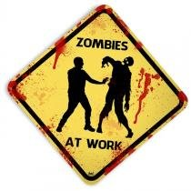 Placa Personalizada Zombies At Work - 22 X 22 cm. - Yaay
