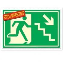 Placa Rota de Fuga Desce Escada Direita Fotolum 20x30cm PVC 250BH Sinalize - Sinalize