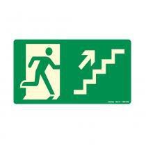Placa Rota de Fuga Sobe Escada Direita Fotolum 20x30cm PVC 250BK Sinalize -