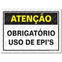 """Placa sinalizadora """"Atenção Obrigatório Uso de EPIs"""" 20 x 30cm - Sinalize"""