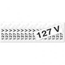 """Placa sinalizadora """"Etiqueta de voltagem 127 volts"""" 5 x 25cm - Sinalize"""