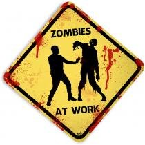 Placa Zombies At Work - 32 x 32 cm - Yaay