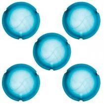 Plafon Murano Vidro 30cm 2 lampadas E-27 Max 60w Cor Azul com Garra Branca 05 unidades - Home line