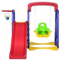 Playground Infantil 3 Em 1 Escorregador, Balanço e Basquete - Canguri