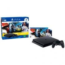 Playstation 4 Hits Bundle 500GB Sony 1 Controle  - 4 Jogos e Voucher PS Plus 3 meses