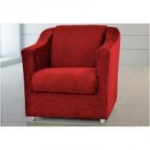 Poltrona Decorativa Bia Suede Amassado Vermelho - Matrix -