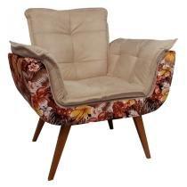 Poltrona Opalla Floral  Base Palito Imbuia - Dikaza Móveis e Decorações