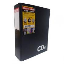 Porta Cds Chies Profissional Duplo Jumbo 4 Separadores Refis 80 Cds Preto 1302-1 -