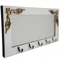 Porta Chaves Arabescos com Espelho Branco - Crie casa