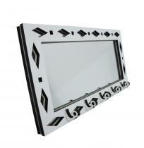 Porta Chaves Branco Espelhado Geométrico - Crie casa
