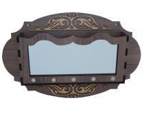 Porta Chaves e Correspondência Oval Marrom com Espelho - Crie casa