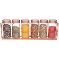 Porta Condimentos de Vidro 7 Peças com Suporte - Casambiente POVI115