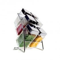 Porta condimentos square com 6 peças - Transparente - Euro
