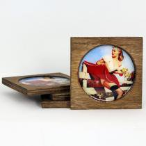 Porta Copos Garota da Fazenda 4 Unidades - Colorido - Vintage Concept